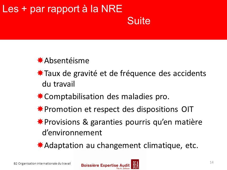 Les + par rapport à la NRE Suite  Absentéisme  Taux de gravité et de fréquence des accidents du travail  Comptabilisation des maladies pro.  Promo