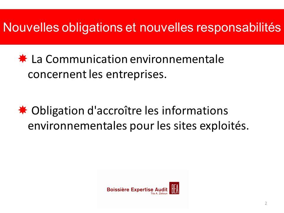 Nouvelles obligations et nouvelles responsabilités  La Communication environnementale concernent les entreprises.  Obligation d'accroître les inform