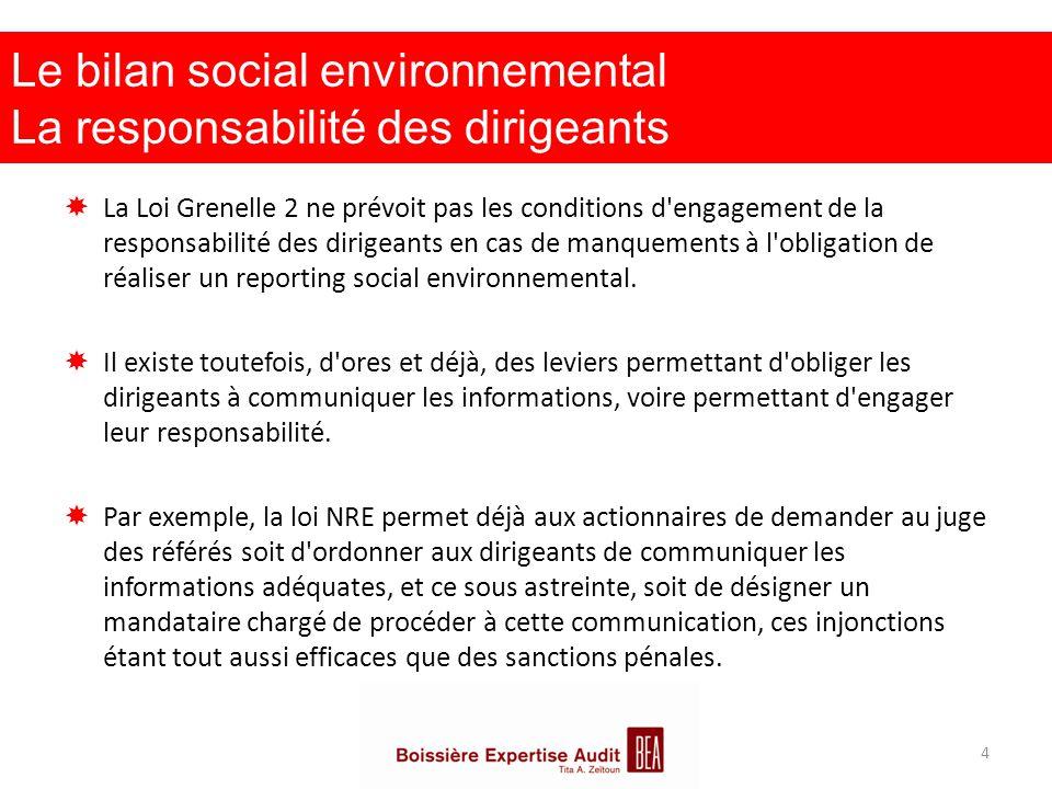 Le bilan social environnemental La responsabilité des dirigeants  La Loi Grenelle 2 ne prévoit pas les conditions d'engagement de la responsabilité d