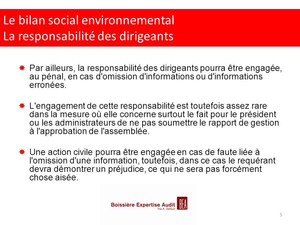 Le bilan social environnemental La responsabilité des dirigeants  Par ailleurs, la responsabilité des dirigeants pourra être engagée, au pénal, en ca