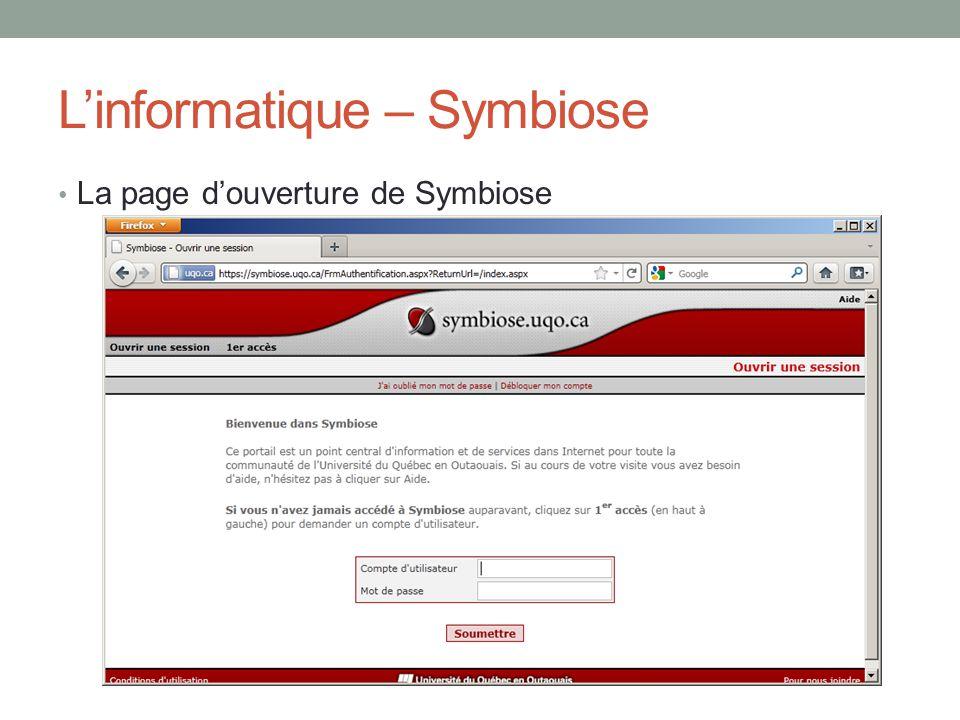 L'informatique – Symbiose La page d'ouverture de Symbiose