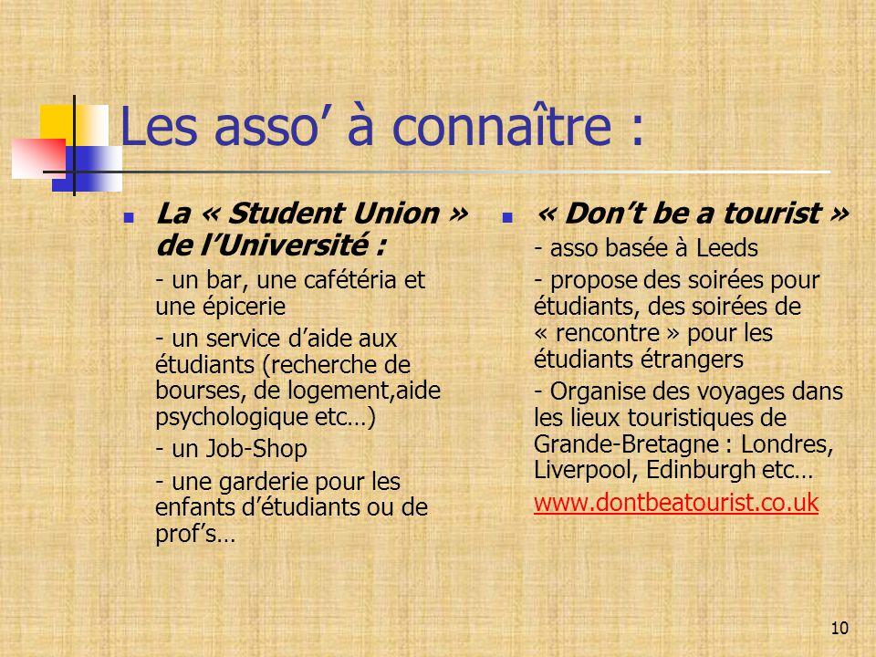 10 Les asso' à connaître : La « Student Union » de l'Université : - un bar, une cafétéria et une épicerie - un service d'aide aux étudiants (recherche