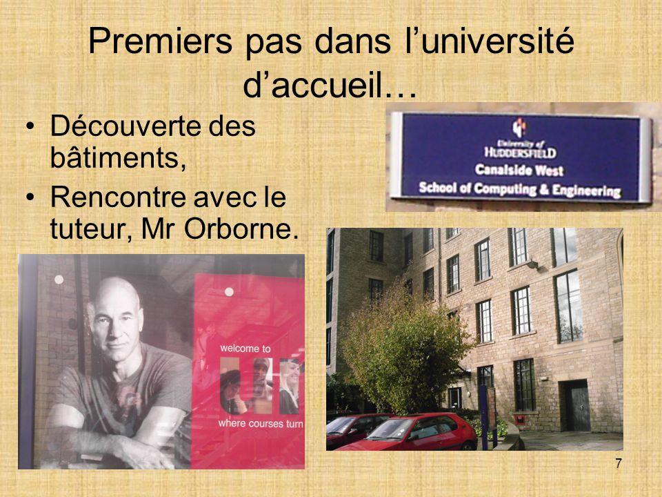 7 Premiers pas dans l'université d'accueil… Découverte des bâtiments, Rencontre avec le tuteur, Mr Orborne.