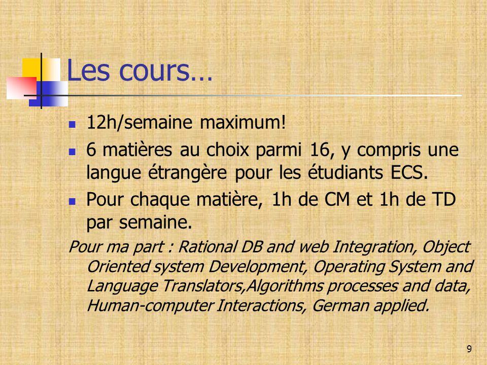 9 Les cours… 12h/semaine maximum! 6 matières au choix parmi 16, y compris une langue étrangère pour les étudiants ECS. Pour chaque matière, 1h de CM e