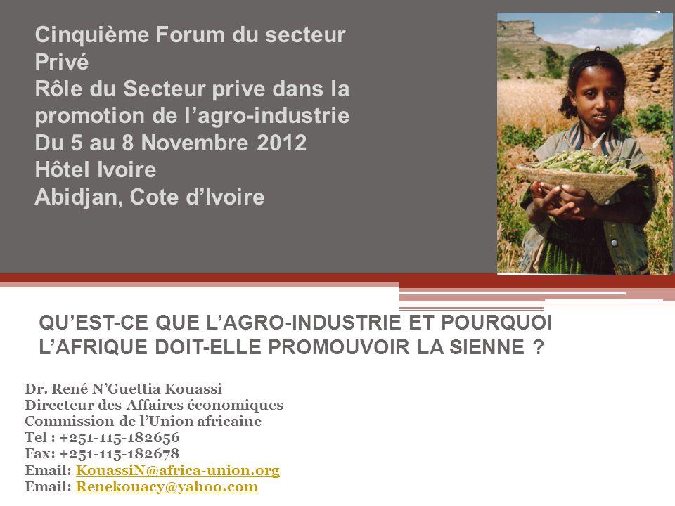 Dr. René N'Guettia Kouassi Directeur des Affaires économiques Commission de l'Union africaine Tel : +251-115-182656 Fax: +251-115-182678 Email: Kouass