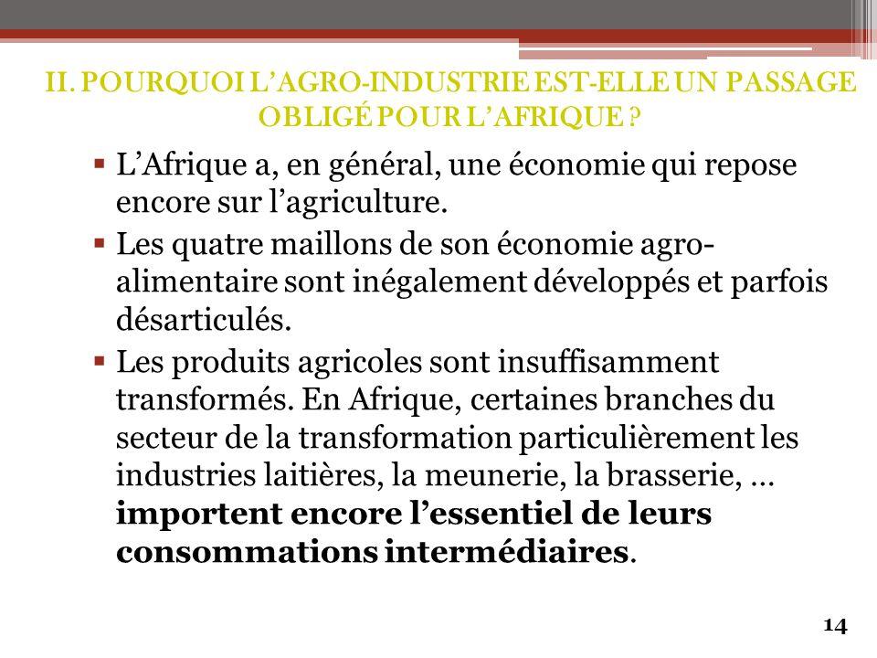  L'Afrique a, en général, une économie qui repose encore sur l'agriculture.  Les quatre maillons de son économie agro- alimentaire sont inégalement