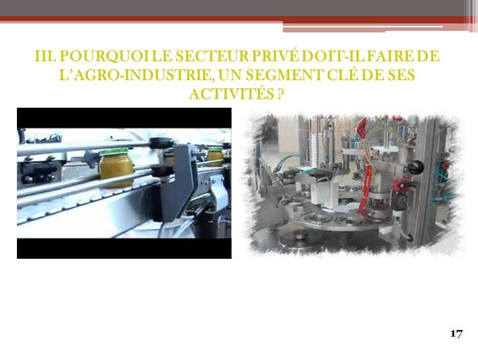 17 III. POURQUOI LE SECTEUR PRIVÉ DOIT-IL FAIRE DE L'AGRO-INDUSTRIE, UN SEGMENT CLÉ DE SES ACTIVITÉS ?