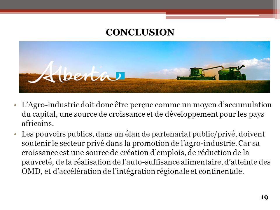 CONCLUSION L'Agro-industrie doit donc être perçue comme un moyen d'accumulation du capital, une source de croissance et de développement pour les pays