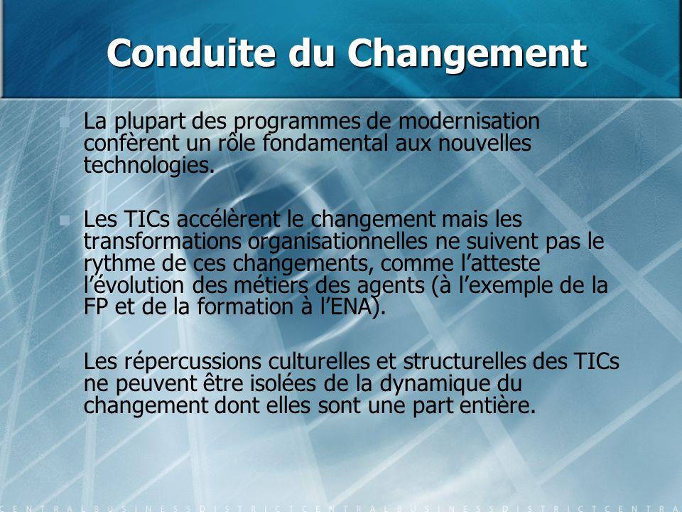 Conduite du Changement La plupart des programmes de modernisation confèrent un rôle fondamental aux nouvelles technologies. Les TICs accélèrent le cha