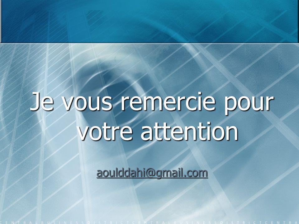 Je vous remercie pour votre attention aoulddahi@gmail.com