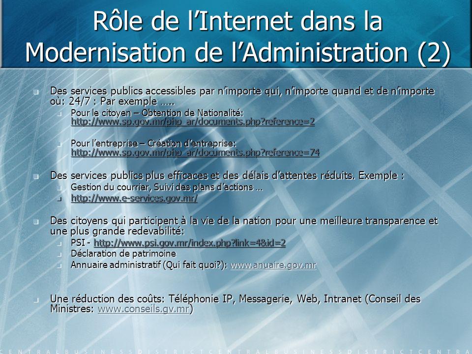 Rôle de l'Internet dans la Modernisation de l'Administration (2) Des services publics accessibles par n'importe qui, n'importe quand et de n'importe o
