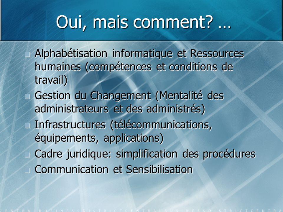 Oui, mais comment? … Alphabétisation informatique et Ressources humaines (compétences et conditions de travail) Alphabétisation informatique et Ressou