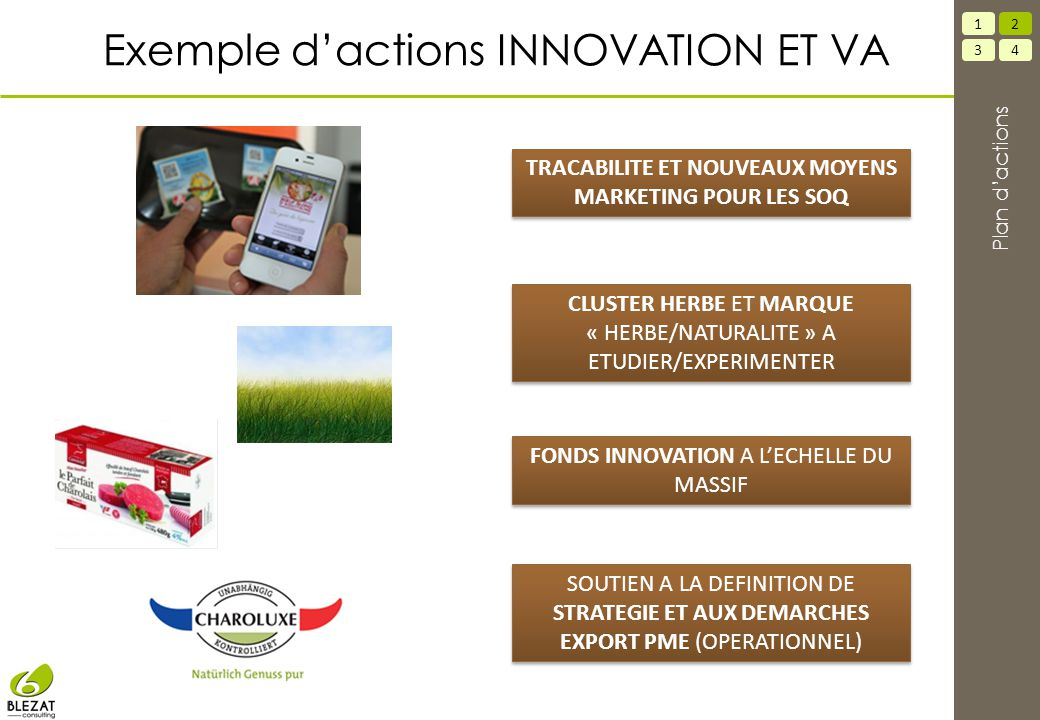 Exemple d'actions INNOVATION ET VA FONDS INNOVATION A L'ECHELLE DU MASSIF SOUTIEN A LA DEFINITION DE STRATEGIE ET AUX DEMARCHES EXPORT PME (OPERATIONN