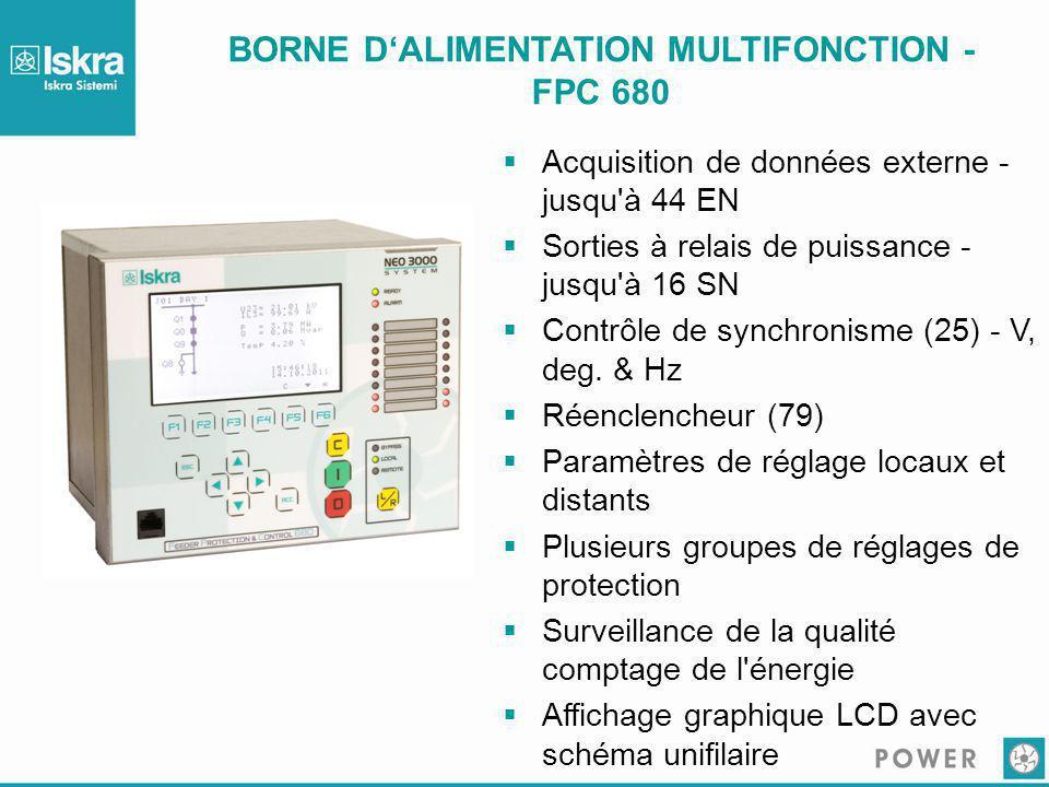 BORNE D'ALIMENTATION MULTIFONCTION - FPC 680  Acquisition de données externe - jusqu'à 44 EN  Sorties à relais de puissance - jusqu'à 16 SN  Contrô
