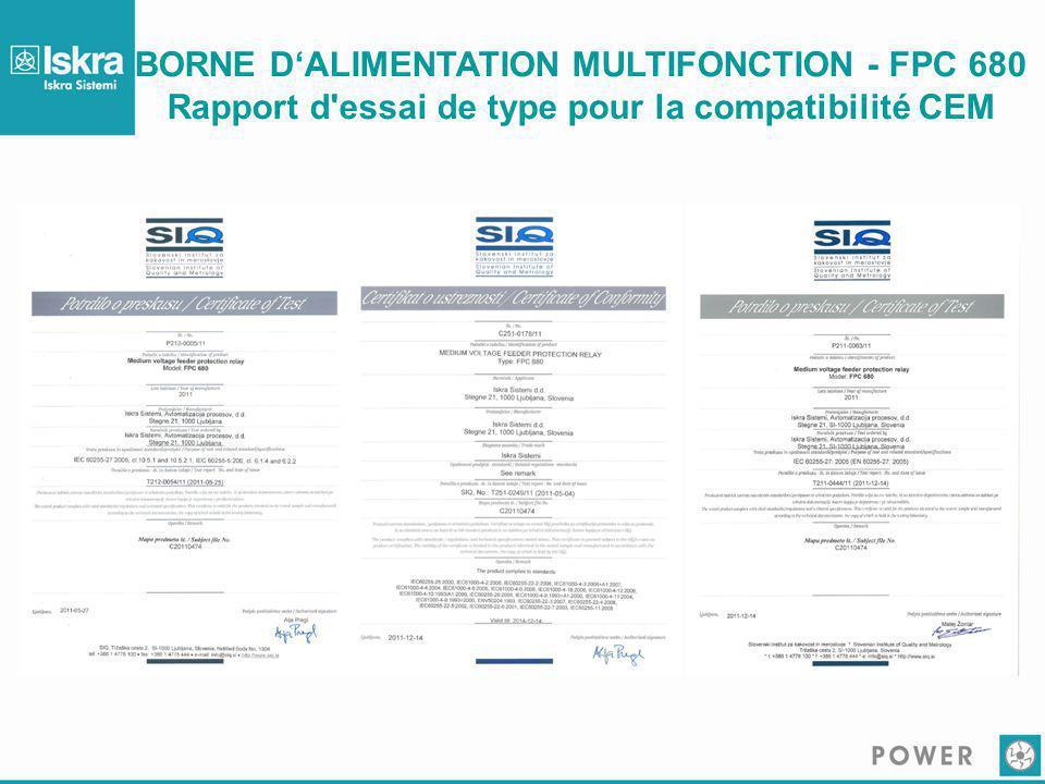 BORNE D'ALIMENTATION MULTIFONCTION - FPC 680 Rapport d'essai de type pour la compatibilité CEM