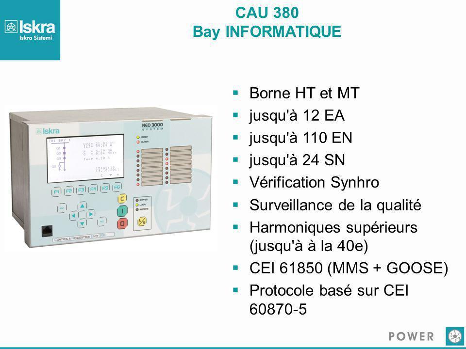 CAU 380 Bay INFORMATIQUE  Borne HT et MT  jusqu'à 12 EA  jusqu'à 110 EN  jusqu'à 24 SN  Vérification Synhro  Surveillance de la qualité  Harmon