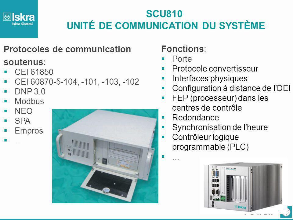 SCU810 UNITÉ DE COMMUNICATION DU SYSTÈME Fonctions:  Porte  Protocole convertisseur  Interfaces physiques  Configuration à distance de l'DEI  FEP