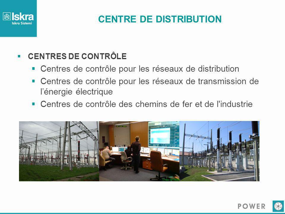 CENTRE DE DISTRIBUTION  CENTRES DE CONTRÔLE  Centres de contrôle pour les réseaux de distribution  Centres de contrôle pour les réseaux de transmis