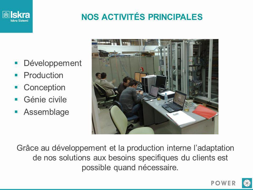 NOS ACTIVITÉS PRINCIPALES  Développement  Production  Conception  Génie civile  Assemblage Grâce au développement et la production interne l'adap