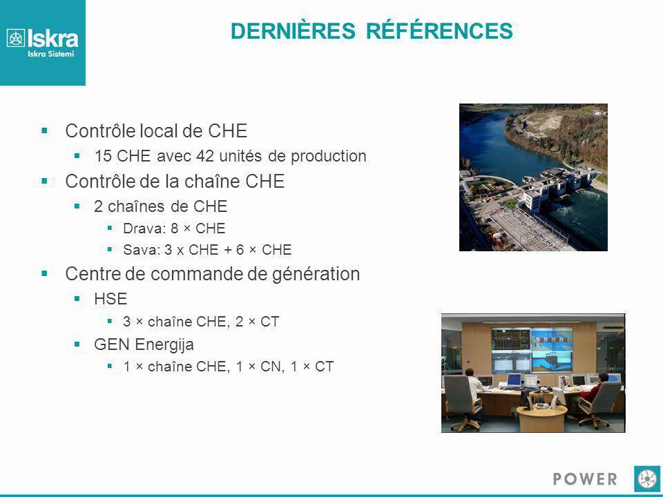 DERNIÈRES RÉFÉRENCES  Contrôle local de CHE  15 CHE avec 42 unités de production  Contrôle de la chaîne CHE  2 chaînes de CHE  Drava: 8 × CHE  S