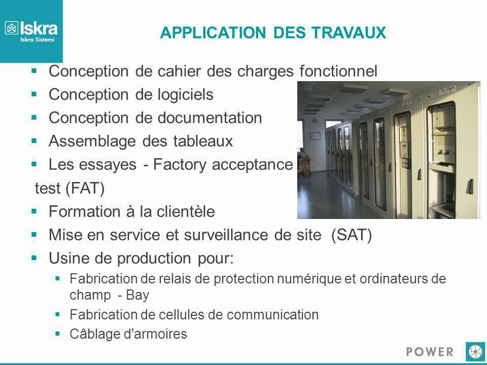 APPLICATION DES TRAVAUX  Conception de cahier des charges fonctionnel  Conception de logiciels  Conception de documentation  Assemblage des tablea