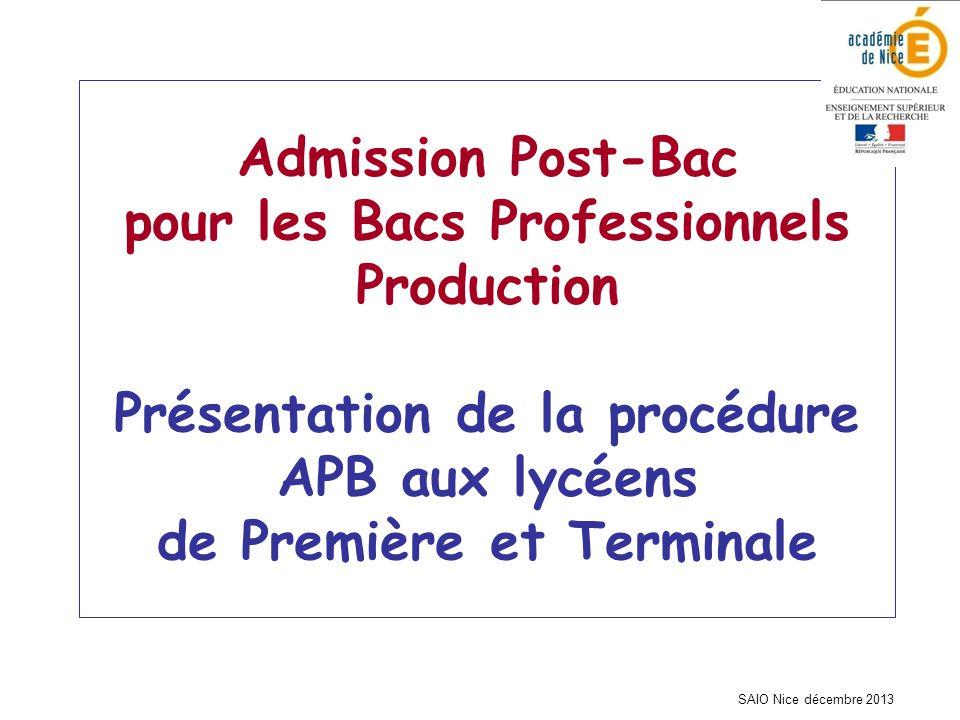 SAIO Nice décembre 2013 Admission Post-Bac pour les Bacs Professionnels Production Présentation de la procédure APB aux lycéens de Première et Termina