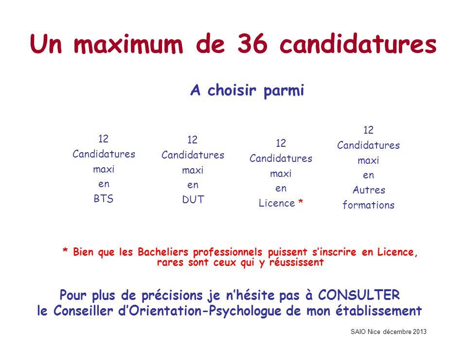 SAIO Nice décembre 2013 Un maximum de 36 candidatures A choisir parmi 12 Candidatures maxi en Licence * 12 Candidatures maxi en DUT 12 Candidatures ma