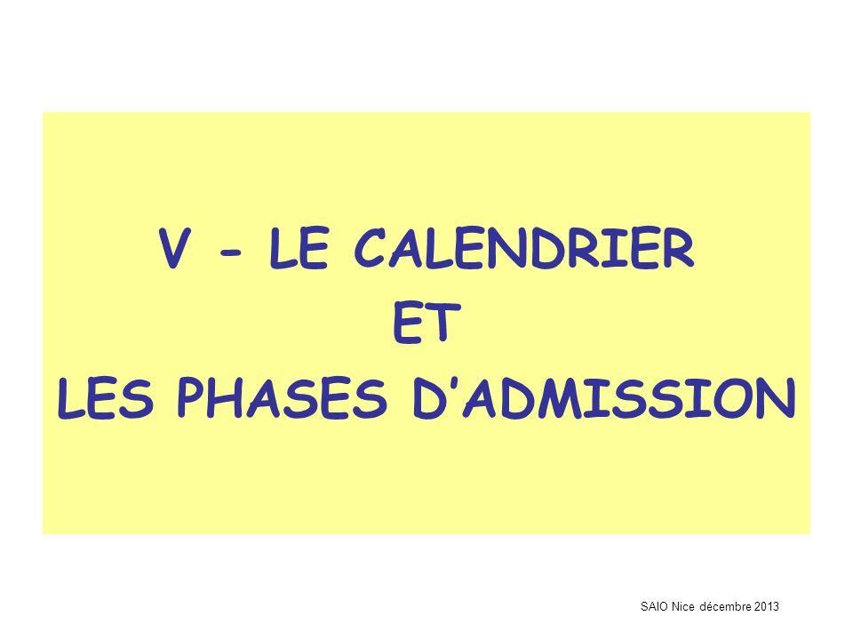 SAIO Nice décembre 2013 V - LE CALENDRIER ET LES PHASES D'ADMISSION