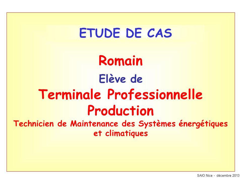 SAIO Nice - décembre 2013 Romain Elève de Terminale Professionnelle Production Technicien de Maintenance des Systèmes énergétiques et climatiques ETUD