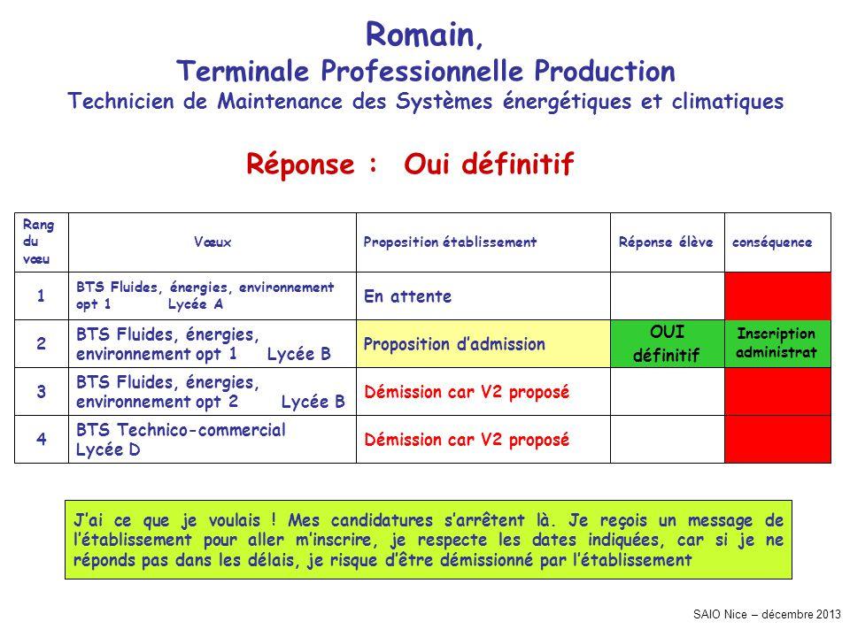 SAIO Nice – décembre 2013 Romain, Terminale Professionnelle Production Technicien de Maintenance des Systèmes énergétiques et climatiques Inscription