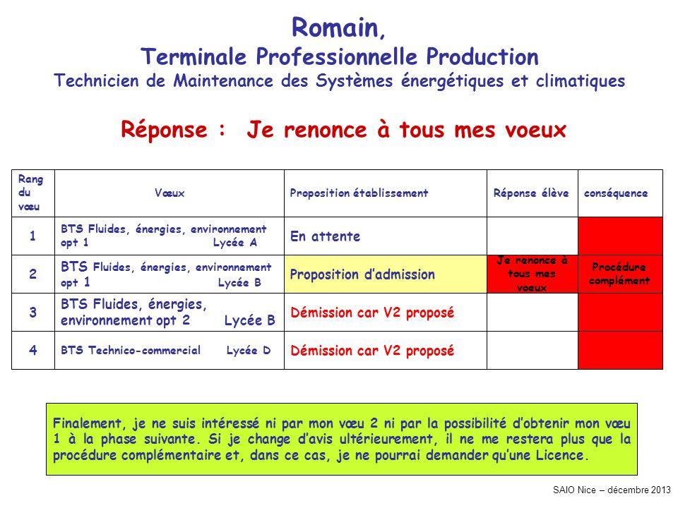 SAIO Nice – décembre 2013 Romain, Terminale Professionnelle Production Technicien de Maintenance des Systèmes énergétiques et climatiques Procédure co