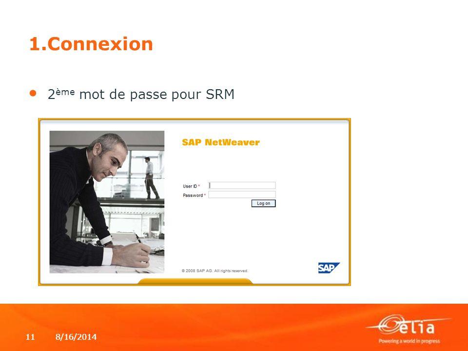8/16/2014118/16/201411 1.Connexion 2 ème mot de passe pour SRM