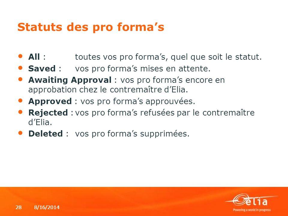 8/16/2014288/16/201428 Statuts des pro forma's All :toutes vos pro forma's, quel que soit le statut. Saved :vos pro forma's mises en attente. Awaiting