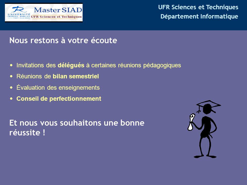 UFR Sciences et Techniques Département Informatique Nous restons à votre écoute  Invitations des délégués à certaines réunions pédagogiques  Réunion