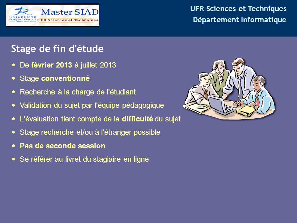 UFR Sciences et Techniques Département Informatique Stage de fin d'étude  De février 2013 à juillet 2013  Stage conventionné  Recherche à la charge