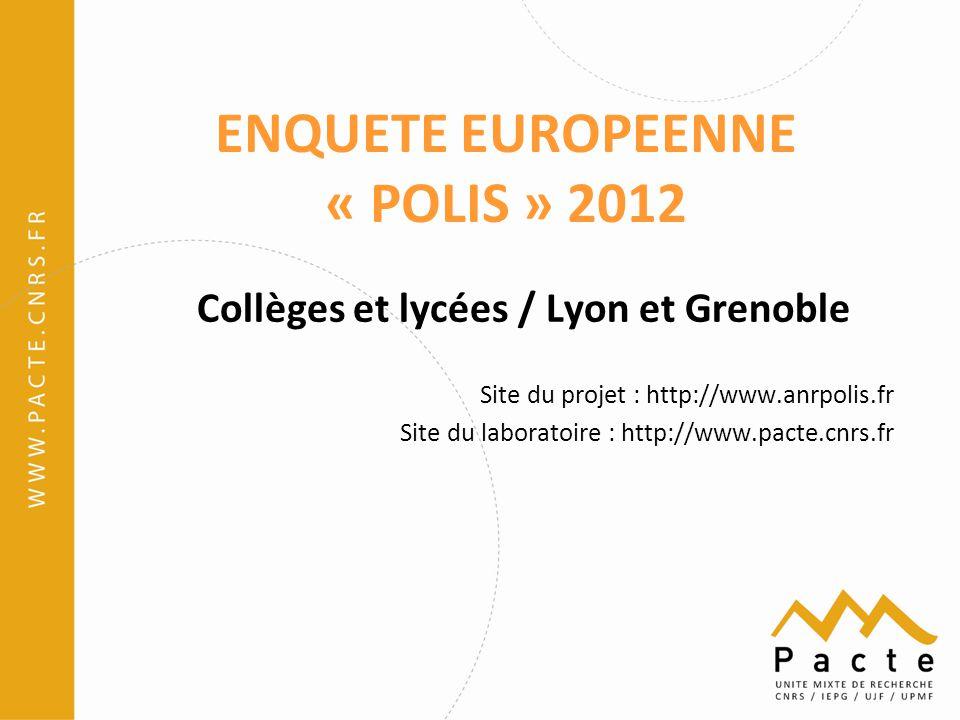 ENQUETE EUROPEENNE « POLIS » 2012 Collèges et lycées / Lyon et Grenoble Site du projet : http://www.anrpolis.fr Site du laboratoire : http://www.pacte