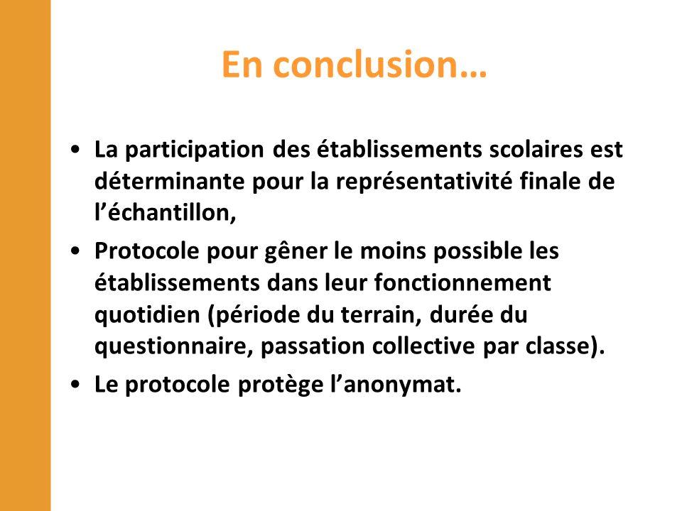En conclusion… La participation des établissements scolaires est déterminante pour la représentativité finale de l'échantillon, Protocole pour gêner l