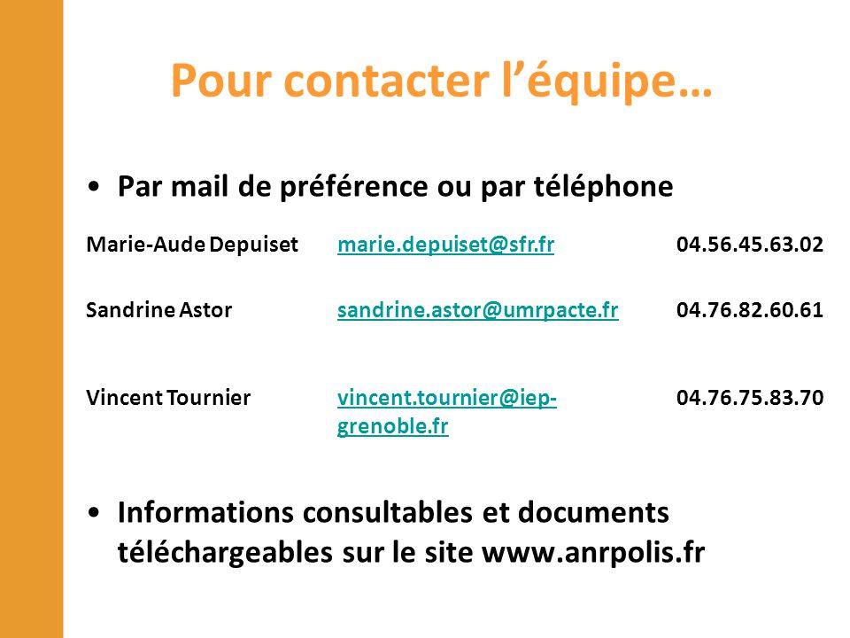 Pour contacter l'équipe… Par mail de préférence ou par téléphone Informations consultables et documents téléchargeables sur le site www.anrpolis.fr Ma