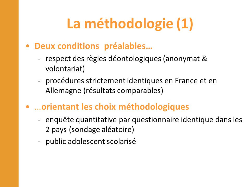 La méthodologie (1) Deux conditions préalables… -respect des règles déontologiques (anonymat & volontariat) -procédures strictement identiques en Fran