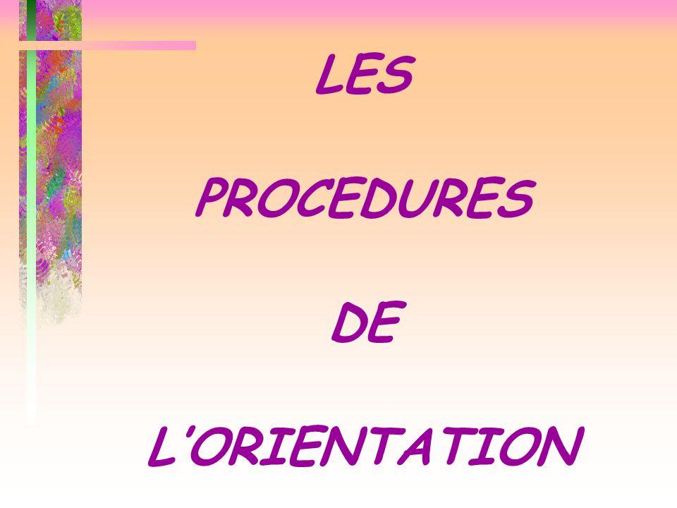 LES PROCEDURES DE L'ORIENTATION
