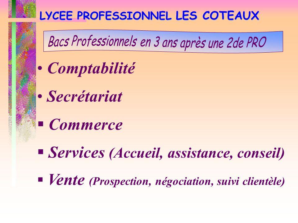 LYCEE PROFESSIONNEL LES COTEAUX Comptabilité Secrétariat  Commerce  Services (Accueil, assistance, conseil)  Vente (Prospection, négociation, suiv