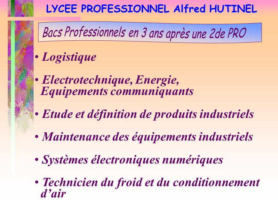 LYCEE PROFESSIONNEL Alfred HUTINEL Logistique Electrotechnique, Energie, Equipements communiquants Etude et définition de produits industriels Mainten