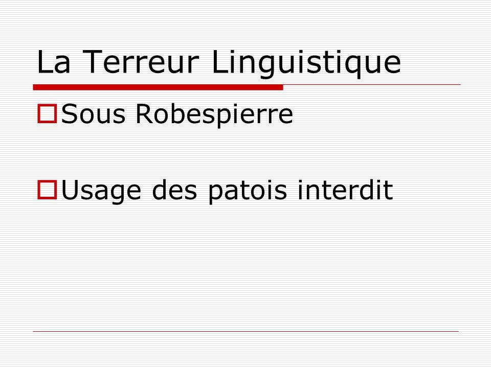 La Terreur Linguistique  Sous Robespierre  Usage des patois interdit