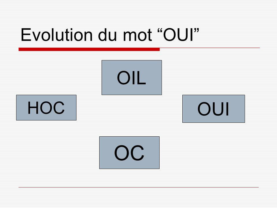 """Evolution du mot """"OUI"""" HOC OIL OC OUI"""