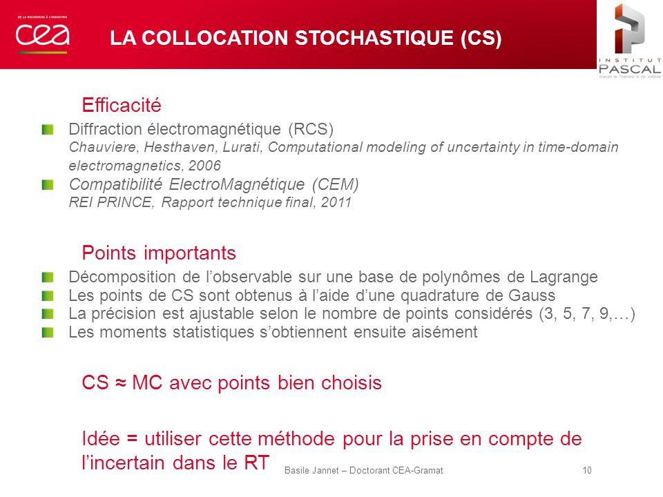 LA COLLOCATION STOCHASTIQUE (CS) Efficacité Diffraction électromagnétique (RCS) Chauviere, Hesthaven, Lurati, Computational modeling of uncertainty in