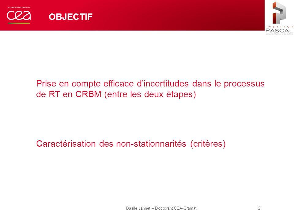 OBJECTIF Prise en compte efficace d'incertitudes dans le processus de RT en CRBM (entre les deux étapes) Caractérisation des non-stationnarités (critè