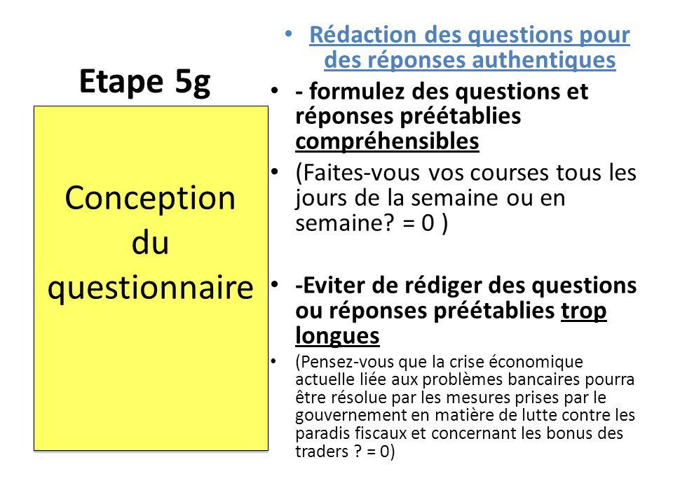 Etape 5g Rédaction des questions pour des réponses authentiques - formulez des questions et réponses préétablies compréhensibles (Faites-vous vos cour