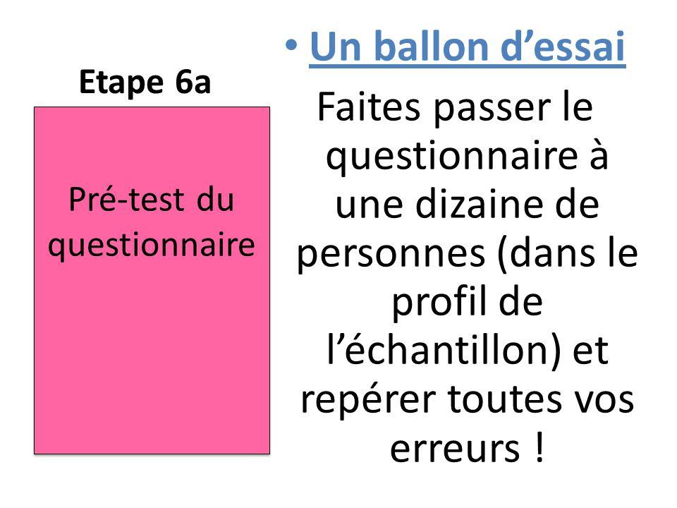 Etape 6a Un ballon d'essai Faites passer le questionnaire à une dizaine de personnes (dans le profil de l'échantillon) et repérer toutes vos erreurs !
