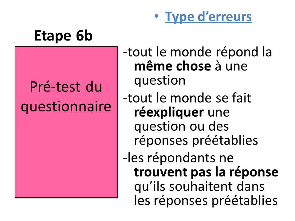 Etape 6b Type d'erreurs -tout le monde répond la même chose à une question -tout le monde se fait réexpliquer une question ou des réponses préétablies