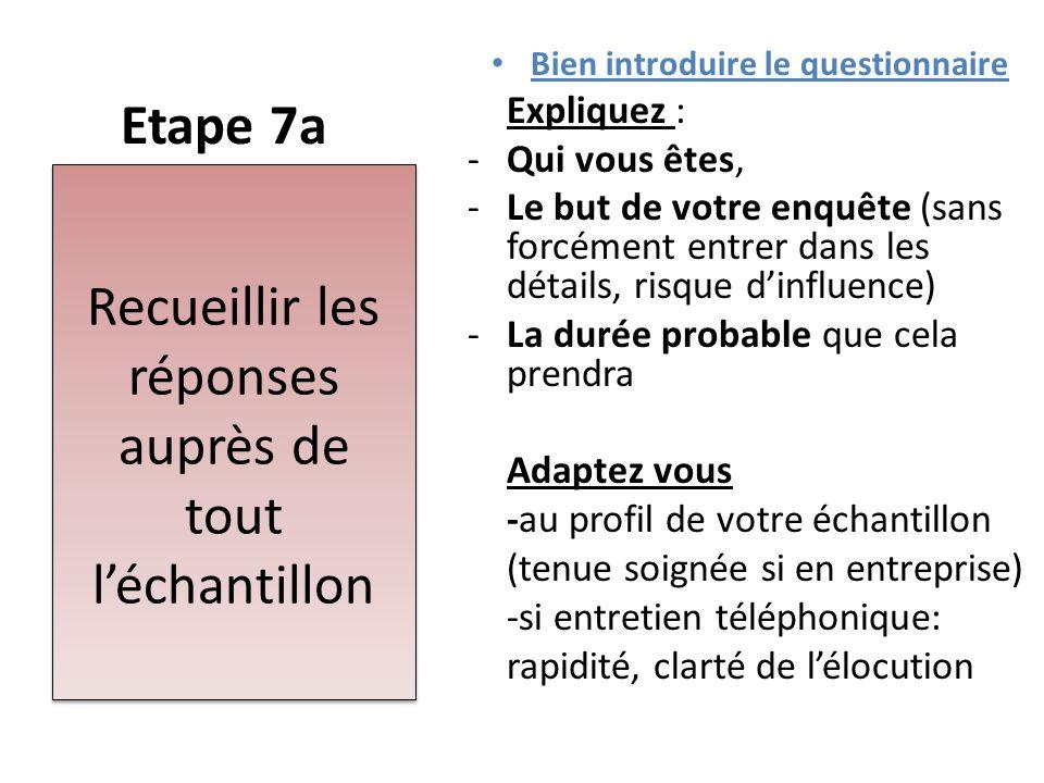 Etape 7a Bien introduire le questionnaire Expliquez : -Qui vous êtes, -Le but de votre enquête (sans forcément entrer dans les détails, risque d'influ